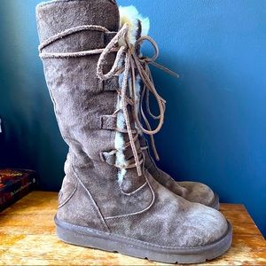 UGG Australia Brown Suede Whitley Lace Up Boots